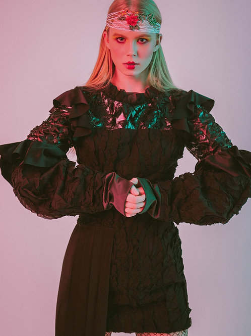 Asymmetric Multi Ruffle Dress