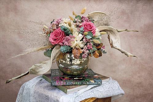 Preservado, rosas y mercury glass