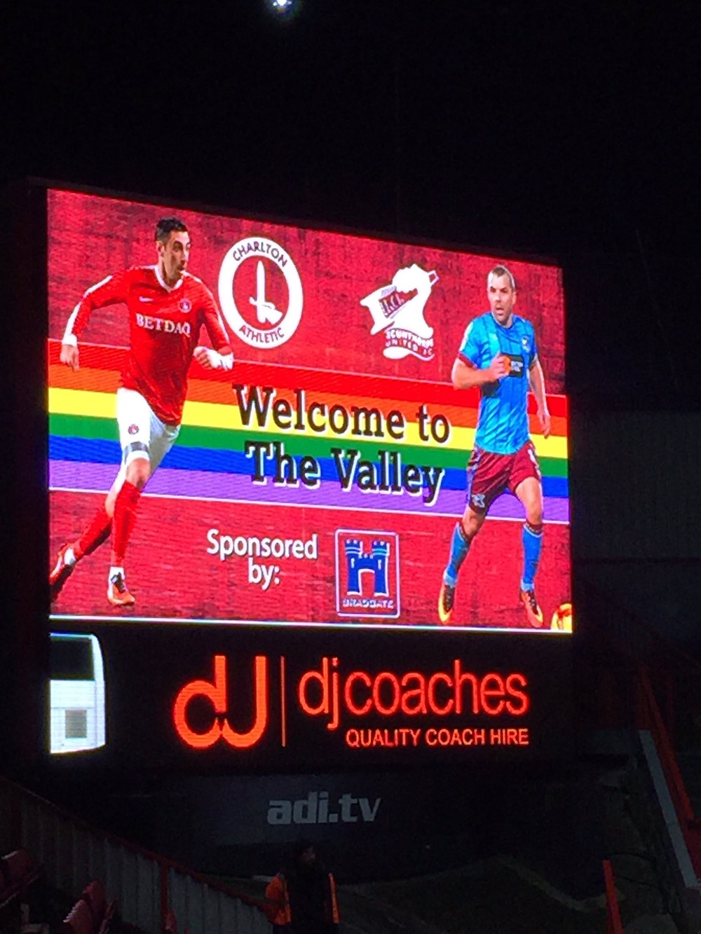 The CAFC Big Screen during the match.