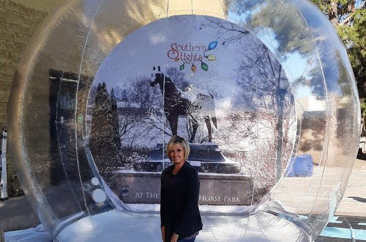 Giant Snow Globe with Printed Backdrops
