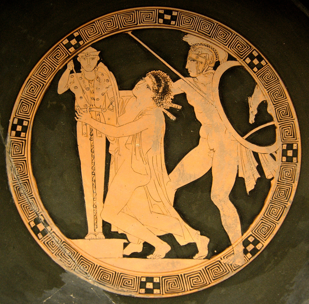 Ajax taking Cassandra, tondo of a red-figure kylix by the Kodros Painter c. 440–430 BC, Louvre