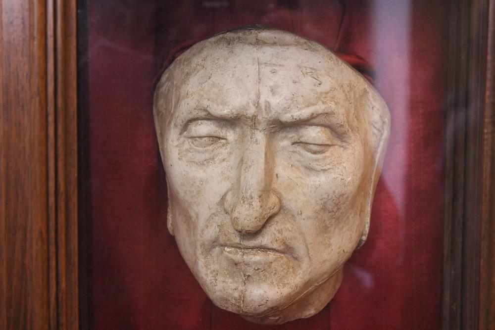 Dante Alighieri death mask in Palazzo Vecchio, Florence