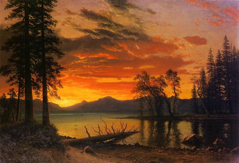 Sunset over River - Albert Bierstadt