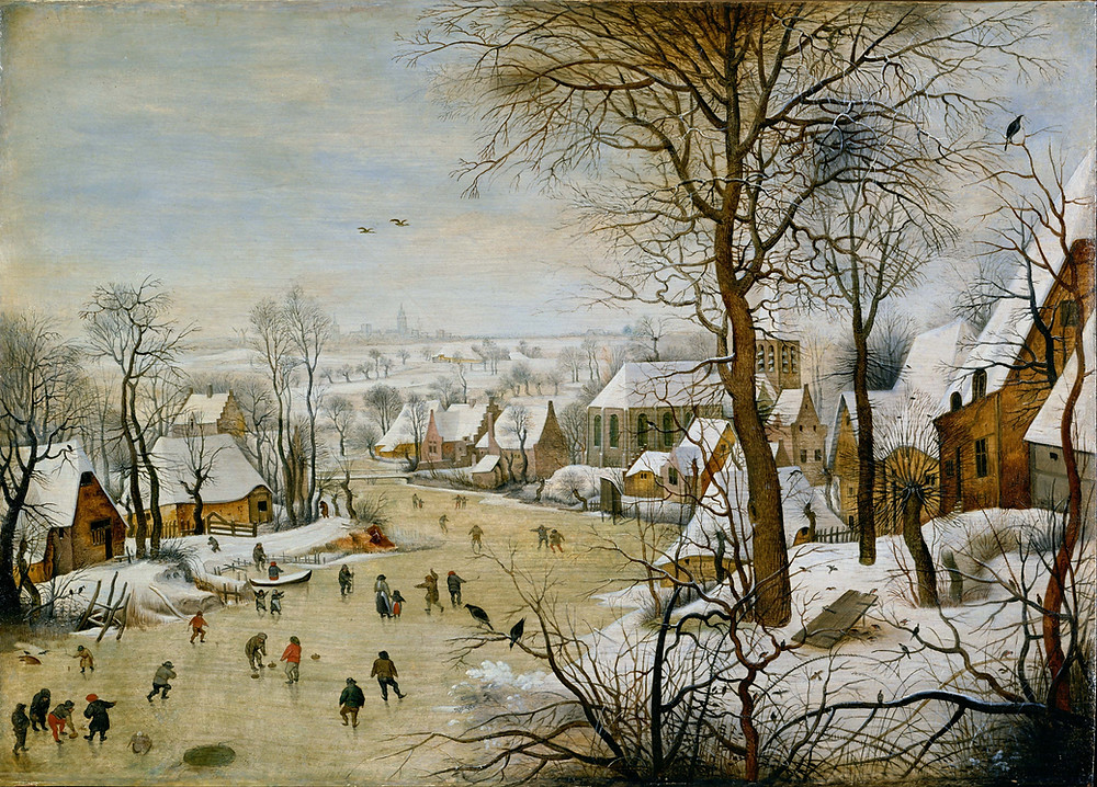 Peter Breugel the Elder - A Winter Landscape with Ice-skaters and Bird-trap (1565)