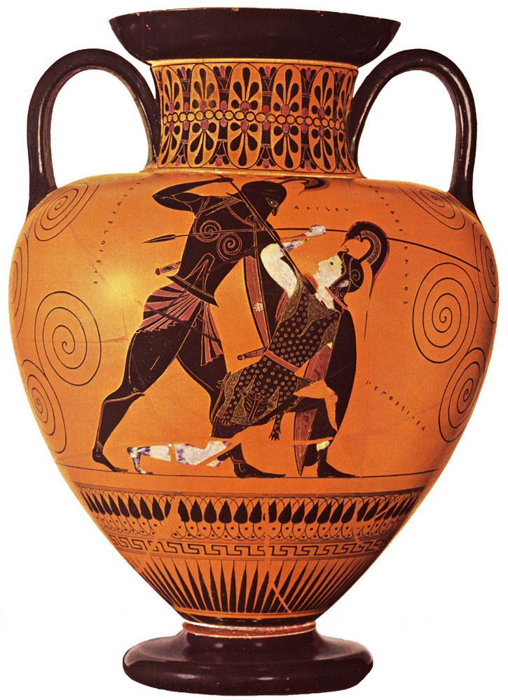 Famous Greek Vase - Achilles kills Penthesileia