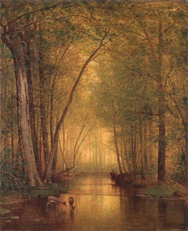 Deer watering - Tomas Worthington Whittredge (1876)
