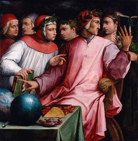 Six Tuscan poets, Georgi Vasari (1544): Dante, Pétrarque, Guido Cavalcanti, Boccacce, Cino da Pistoia et Guittone d'Arezzo