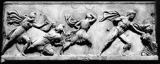 Marbles Frieze of Greeks fighting the Amazons, Roman copy of original attributed to Phidias