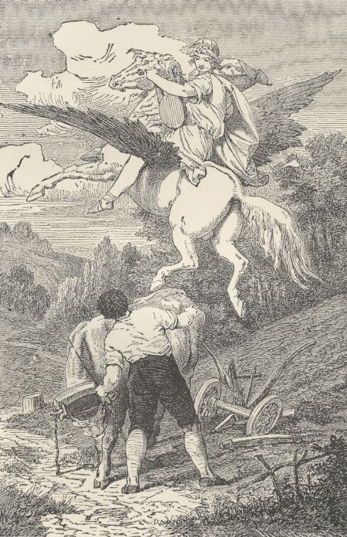 Original Illustration of Pegasus im Joche