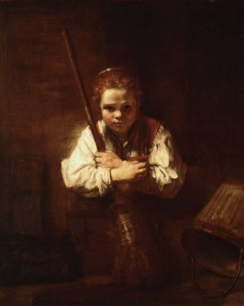 Girl with a Broom - Rembrandt van Rijn (1651)