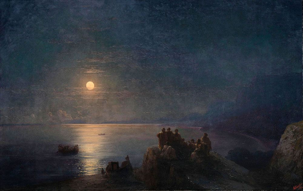 Classical poets on a moonlit shore in ancient Greece (1886) -  Ivan Konstantinovich Aivazovsky