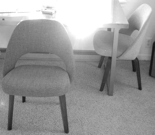 fresh fabric, vintage chairs