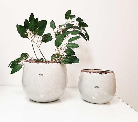 Maceteros cerámica gris claro