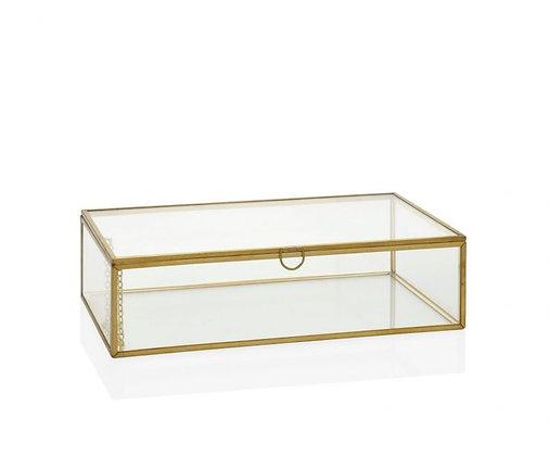 Caja vintage de cristal y oro viejo rectangular