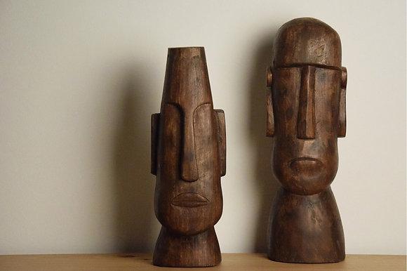 Cabezas africanas en madera