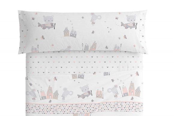 Juego de sábanas casitas rosa y gris