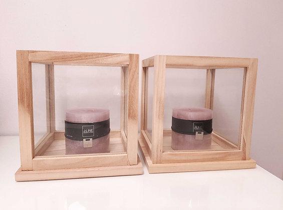 Portavelas cuadrado de madera y cristal