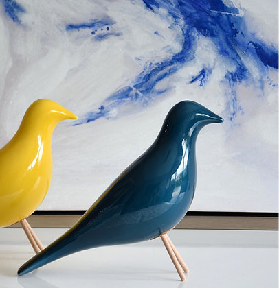 Pájaro cerámica azul