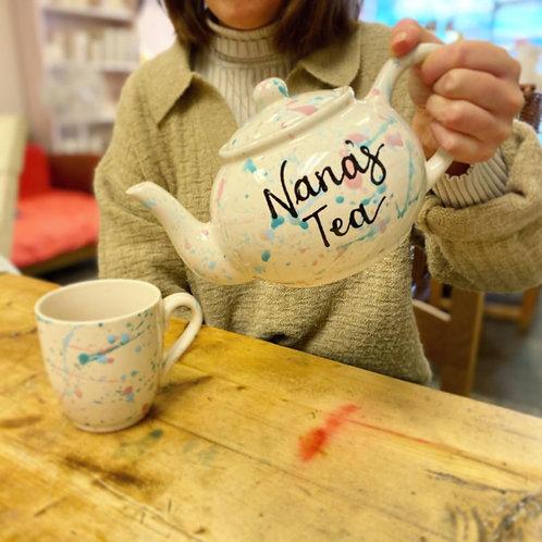 Handpainted Splatter tea pot - personalised