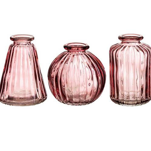 Set of 3 Pink Glass Bud Vases