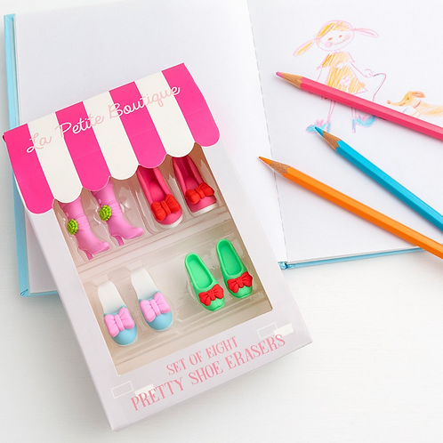 La Petite Boutique Set Of 8 Pretty Shoe Erasers