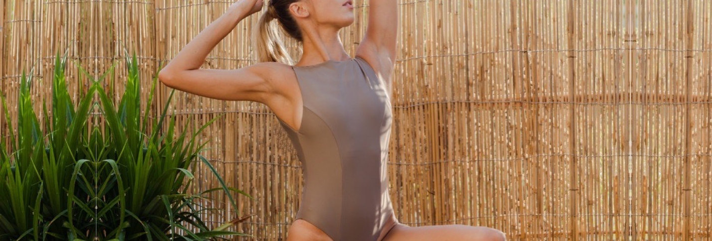 Sustainable leotards and tops in Caramel