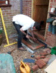 Hubby building the doorstep for my mosaic