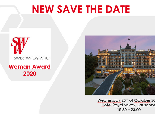 New Save the Date for Swiss Who's Who Woman Award 2020