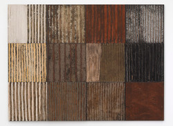 10.Verticle Striped Earthscape 2013, 180 x 240cm, mixed earths on multiple panels