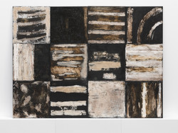 06.1 Black and White 2011, 185 x 240 cm, mixed earths on multiple panels