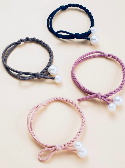 Braided Pearl and Bow Hairtie Set