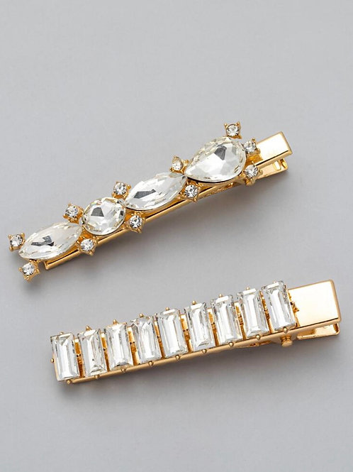 Gold Rhinestone Clip Set