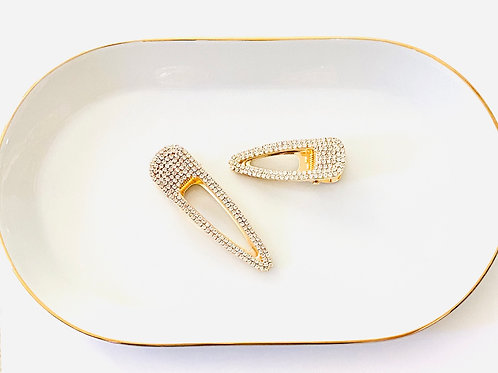 Gold Rhinestone Teardrop Clip Set