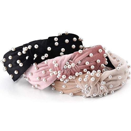 Velvet Pearl Topknot Headband