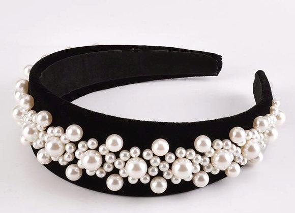 Velvet Floral Pearl Headband