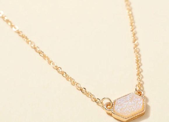 Hexagon Druzy Charm Necklace & Earring Set