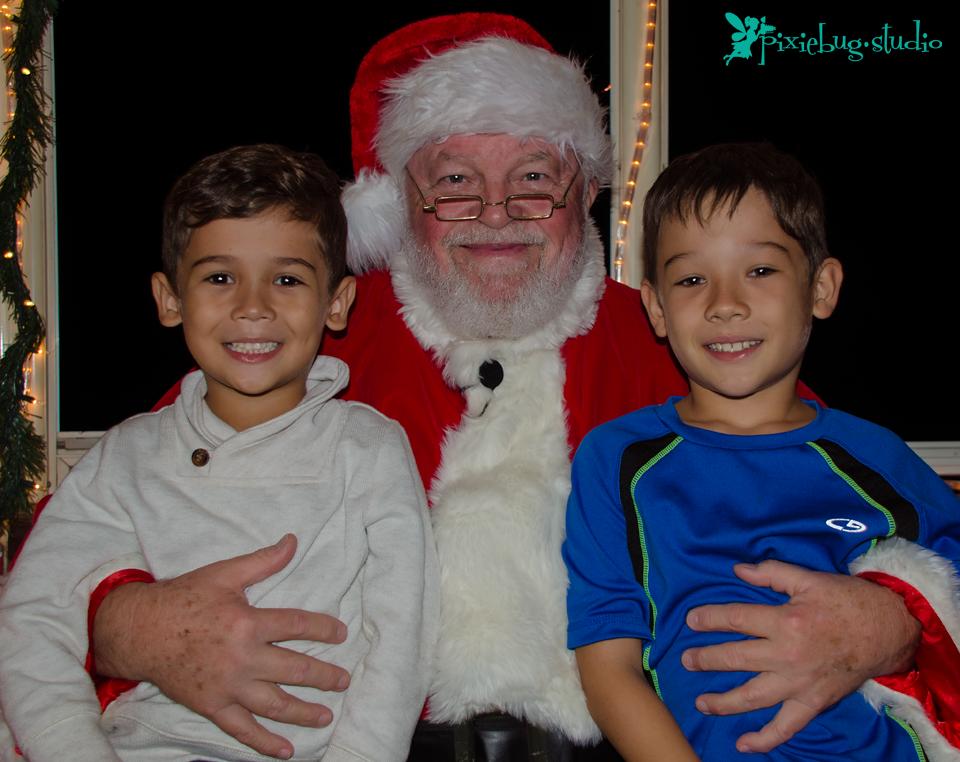Ronan, Santa and Kieran on the Holiday Express
