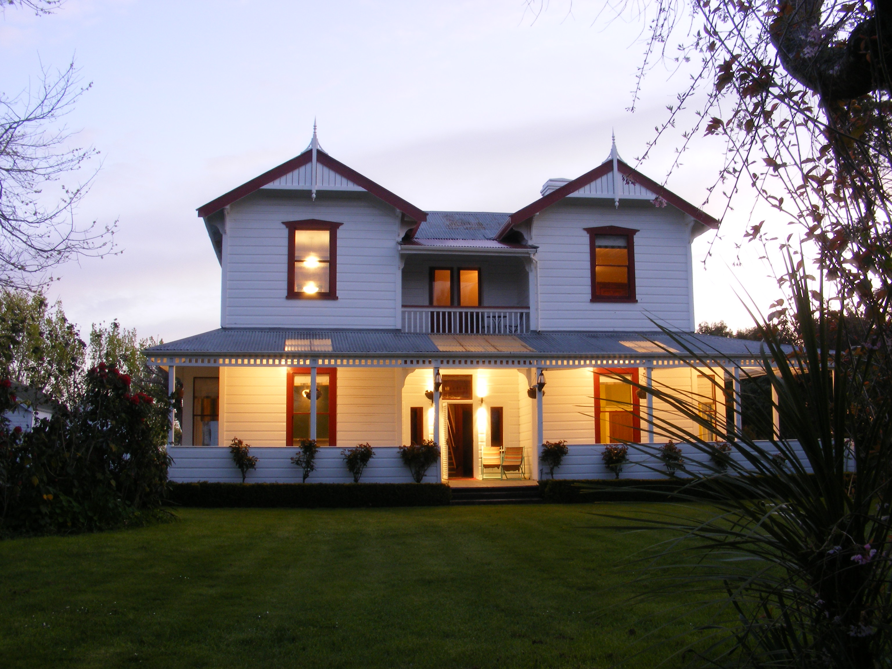 House from Front Lawn in Evening