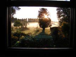 Orchard Room misty sunrise