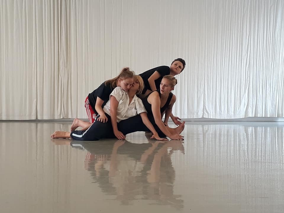 Picture from rehearsal of Florence Peake and Eve Stainton's new work