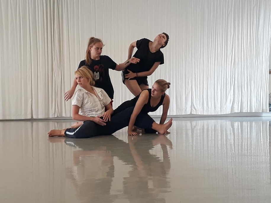 Picture in rehearsals for Florence Peake and Eve Staintons new work