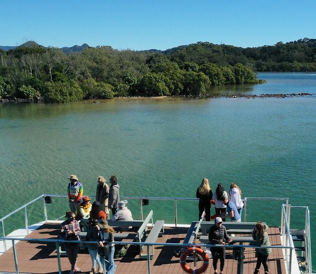 Byron Bay Eco Cruises, Brunswick River, Reading Bay, People enjoying Morning tea cruise