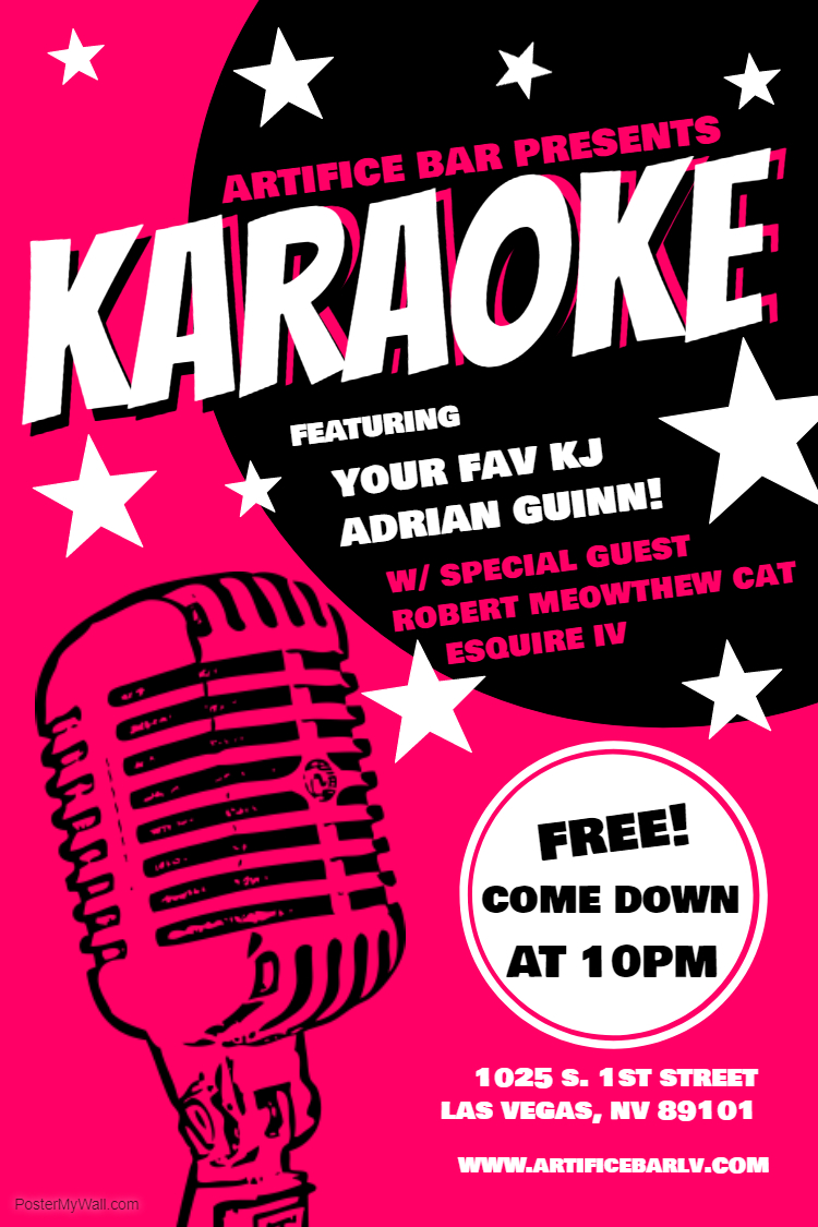 PopUp Karaoke! Friday! Artifice! Wow!