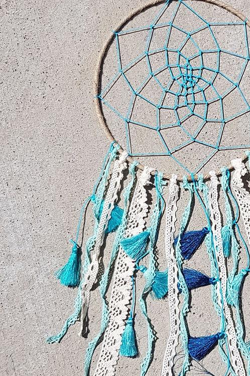 Turquoise Tapestry Tassel Dreamcatcher