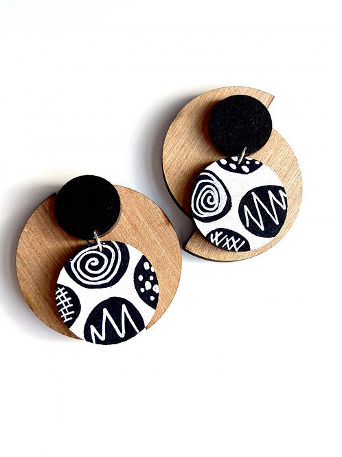 Monochrome Scribble Earrings