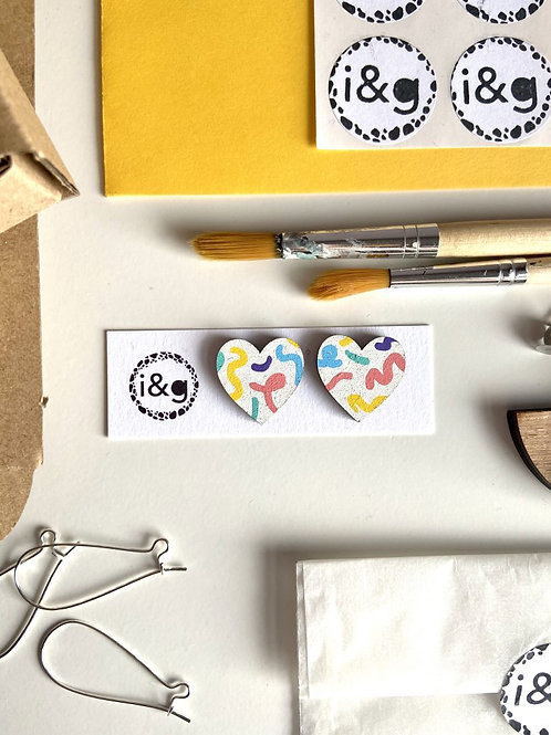 Scribble Hearts Studs - Hand-painted
