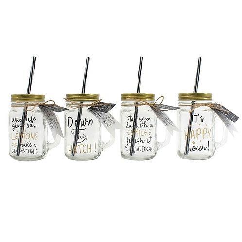 Mason Glass Jar + Straw