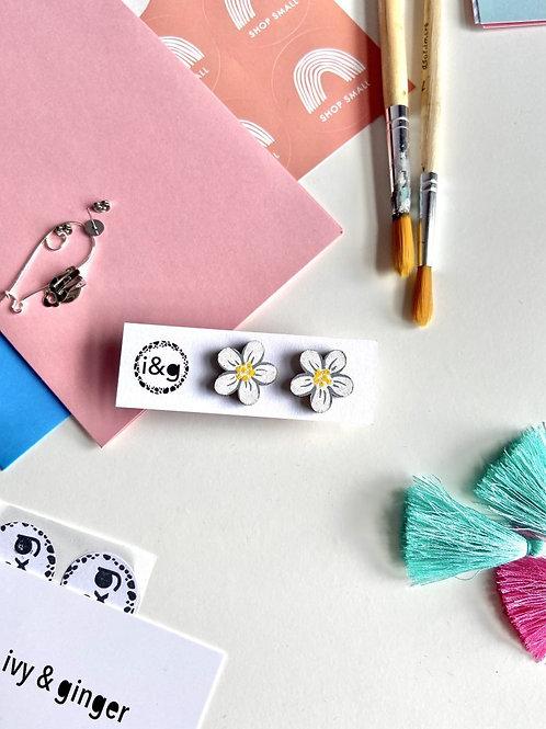 White Daisy Studs - Handmade Jewellery