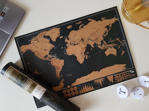 World Scratch Map - Black