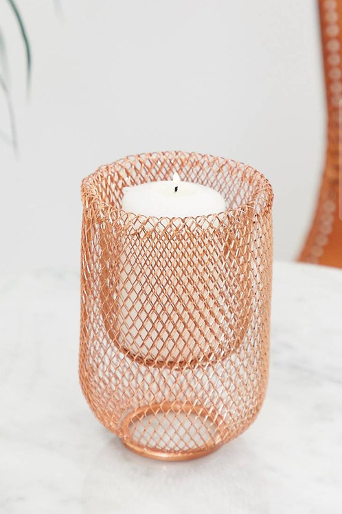 Rose Gold Wire Candle Holder - Set of 3